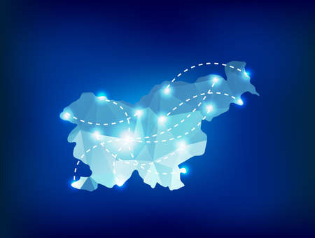 slovenia: Slovenia country map polygonal with spot lights places