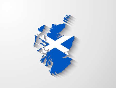 Schotland kaart met schaduw-effect