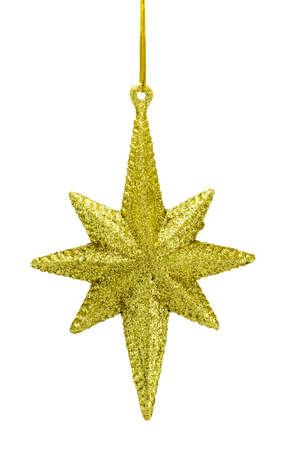 christmas star: decorazione dorata stella di Natale su sfondo bianco Archivio Fotografico