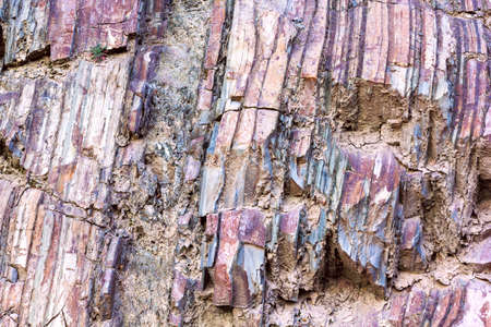 mineralized: The close-up relief of the rocks layers Stock Photo