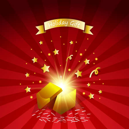 Open magic gift with fireworks from light effect  .Holiday gift greeting card