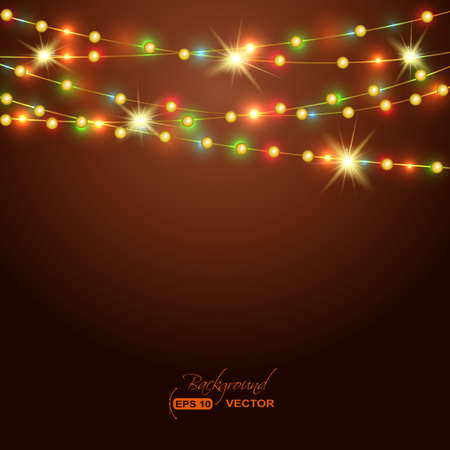 Holiday background with colored  garland Vector