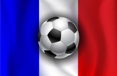 bandera francia: Bandera de Francia con los balones de f�tbol Vectores