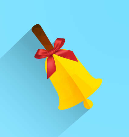 resonate: Polygonal bell with ribbon bow, modern flat icon with long shadow