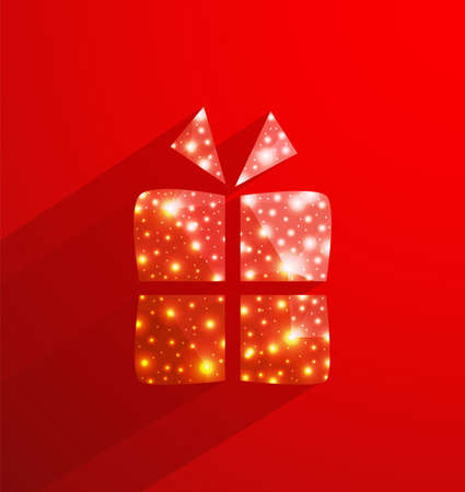red gift box: Red gift box made of  polygonal and lights effect Illustration