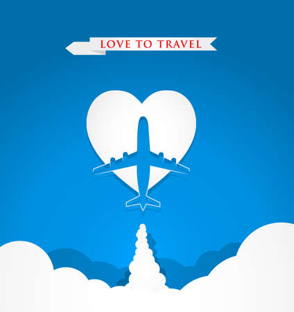 Love travel concept with airplane on heart shape on blue background Vector