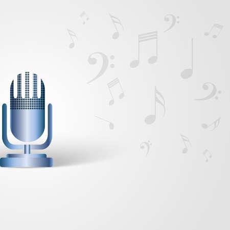 musik hintergrund: Musik-Hintergrund mit Mikrofon Form und Noten