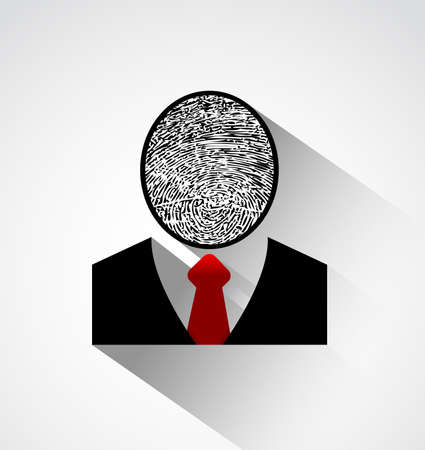 fingermark: Person silhouette finger print head ,Protect individual identity concept