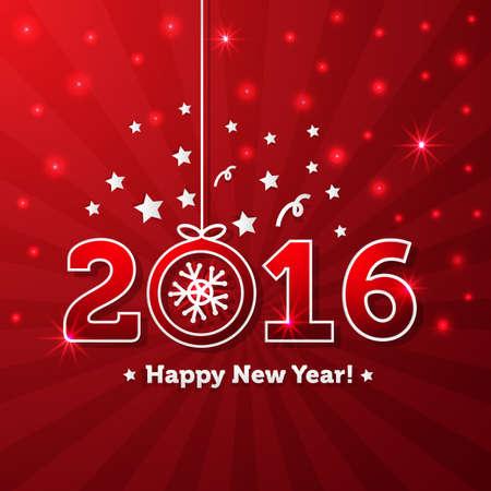 Gelukkig Nieuwjaar 2016 wenskaart