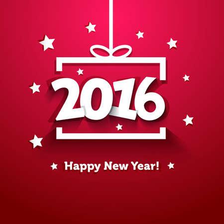 Wit papier geschenkdoos met 2016 Nieuwjaar wenskaart Stock Illustratie