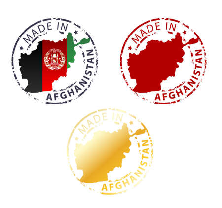 afghanistan: made in Afghanistan stamp - ground authentic stamp with country map