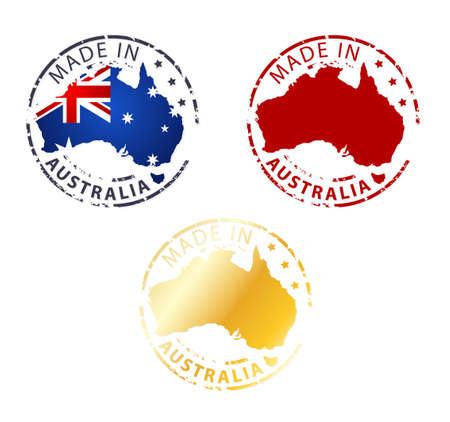 made in Australië postzegel - gemalen authentieke stempel met landkaart Stock Illustratie