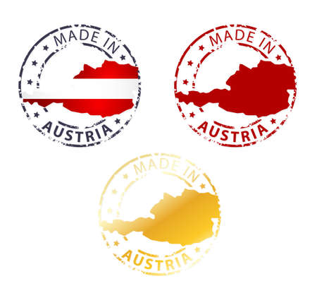 made in Austria stamp - ground authentic stamp with country map