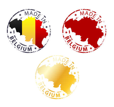 belgium flag: made in Belgium stamp - ground authentic stamp with country map