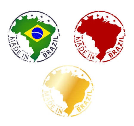 made manufacture manufactured: made in Brazil stamp - ground authentic stamp with country map