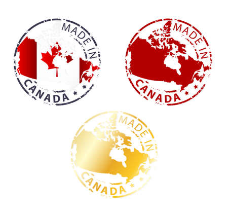canada stamp: made in Canada stamp - ground authentic stamp with country map