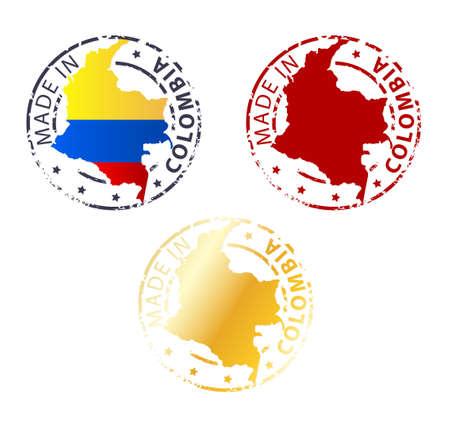 bandera de colombia: hecho en el sello Colombia - Planta auténtico sello con mapa del país Vectores