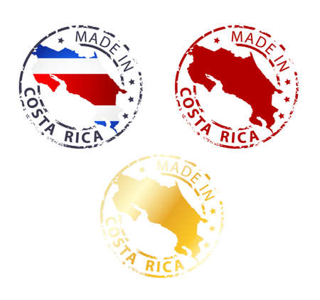 sello: hecho en el sello Costa Rica - planta sello aut�ntico con mapa del pa�s
