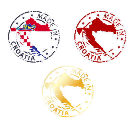 croatia flag: made in Croatia stamp - ground authentic stamp with country map