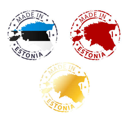 signet: made in Estonia stamp - ground authentic stamp with country map Illustration