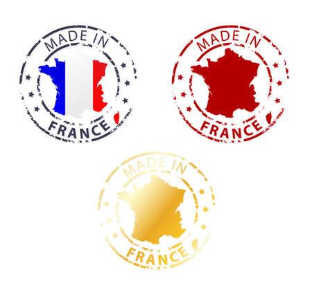 gemaakt in Frankrijk postzegel - gemalen authentieke stempel met landkaart