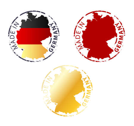 made in Germany stamp - ground authentic stamp with country map