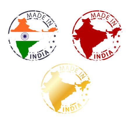signet: made in India stamp - ground authentic stamp with country map Illustration