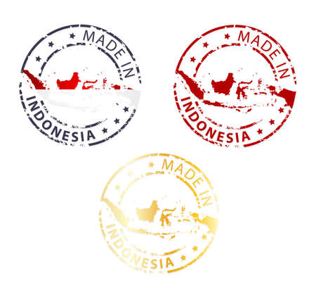 made in Indonesia stamp - ground authentic stamp with country map Vector