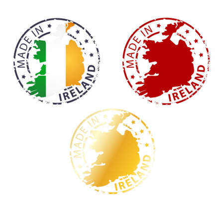 made in Ireland stamp - ground authentic stamp with country map