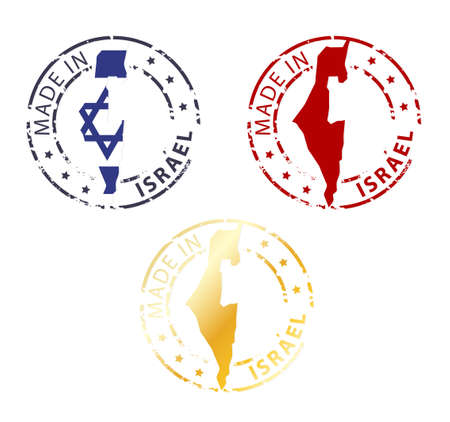 made in Israel stamp - ground authentic stamp with country map Vector