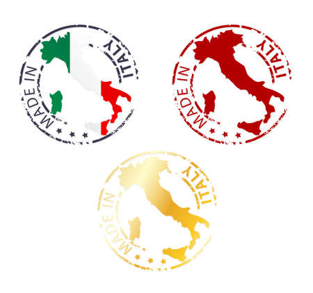 made in Italy stamp - ground authentic stamp with country map Illustration