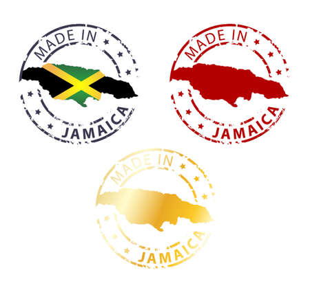 jamaica: made in Jamaica stamp - ground authentic stamp with country map