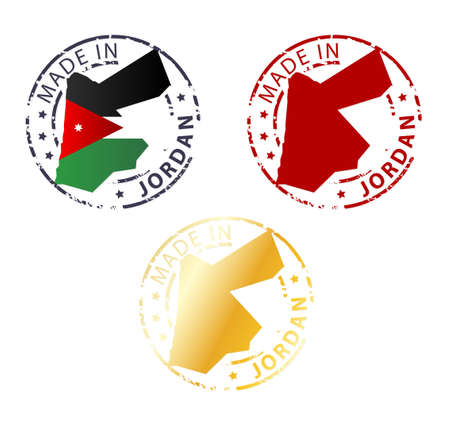 jordanian: gemaakt in Jordanië postzegel - gemalen authentieke stempel met landkaart Stock Illustratie