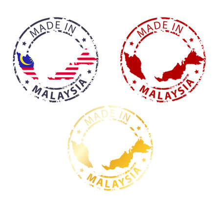 made in Malaysia stamp - ground authentic stamp with country map