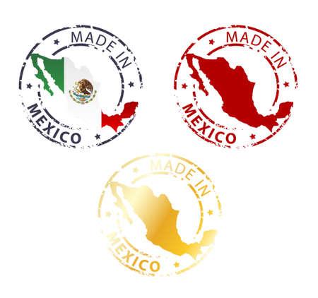 gemaakt in Mexico stamp - gemalen authentieke stempel met landkaart Stock Illustratie