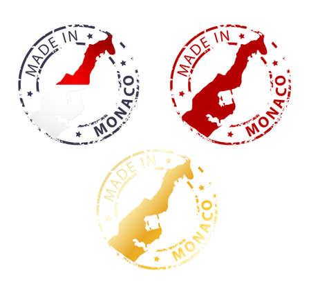 made manufacture manufactured: made in Monaco stamp - ground authentic stamp with country map Illustration