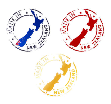 bandera de nueva zelanda: hecho en el sello Nueva Zelanda - planta sello aut�ntico con mapa del pa�s Vectores