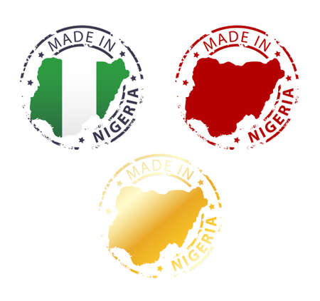 country nigeria: made in Nigeria stamp - ground authentic stamp with country map