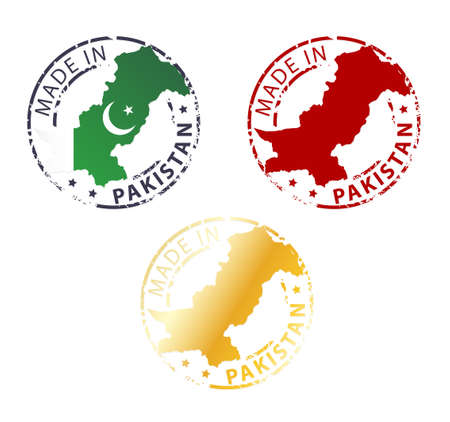 pakistan flag: made in Pakistan stamp - ground authentic stamp with country map