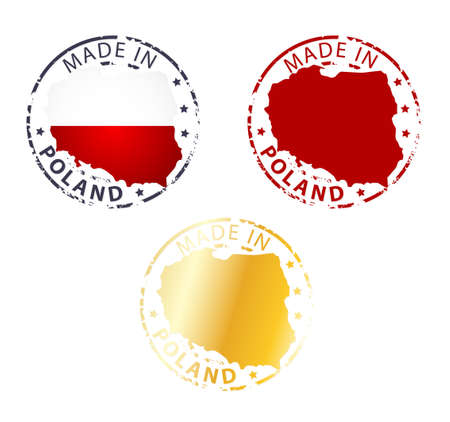 made in Poland stamp - ground authentic stamp with country map Vector