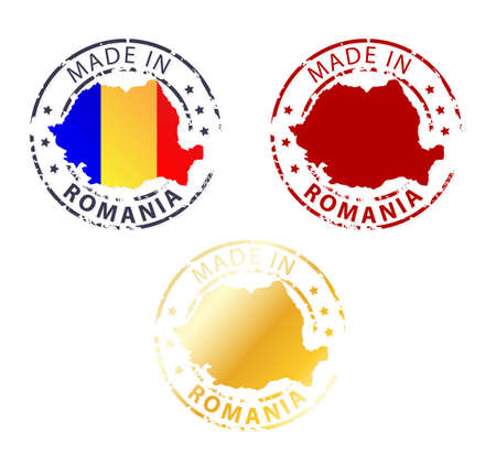 romania flag: made in Romania stamp - ground authentic stamp with country map Illustration