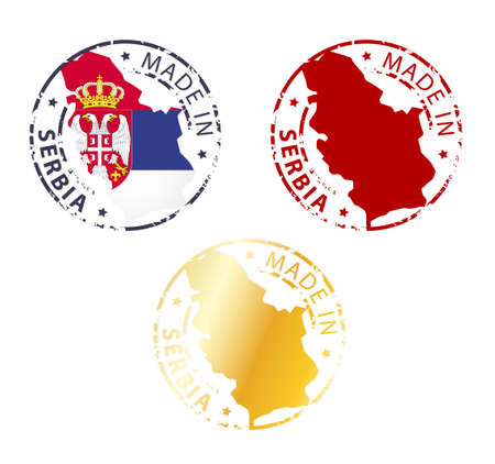 serbia flag: made in Serbia stamp - ground authentic stamp with country map Illustration