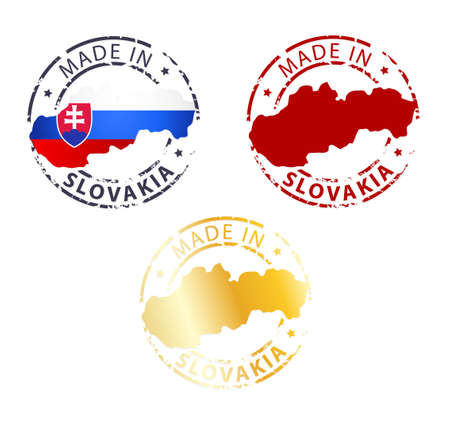 signet: made in Slovakia stamp - ground authentic stamp with country map