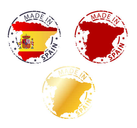 made in spain: made in Spain stamp - ground authentic stamp with country map