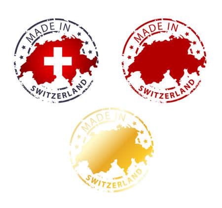 impress: made in Switzerland stamp - terra autentica timbro con la mappa del Paese Vettoriali