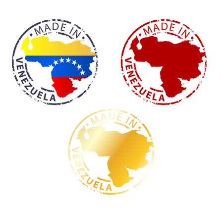 made in Venezuela stamp - ground authentic stamp with country map