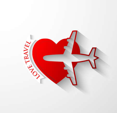 jet airplane: Red silhouette of jet airplane on heart shape - Love travel icon concept