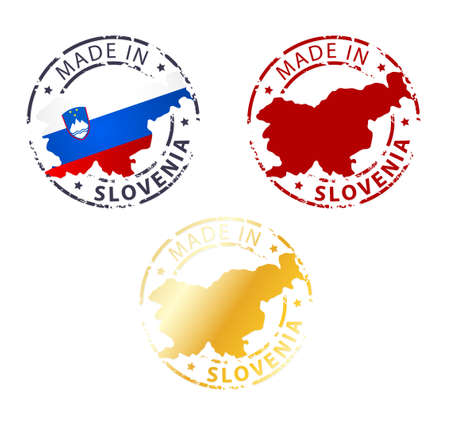 made manufacture manufactured: made in Slovenia stamp - ground authentic stamp with country map