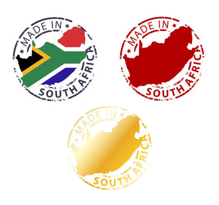 made in South Africa stamp - ground authentic stamp with country map