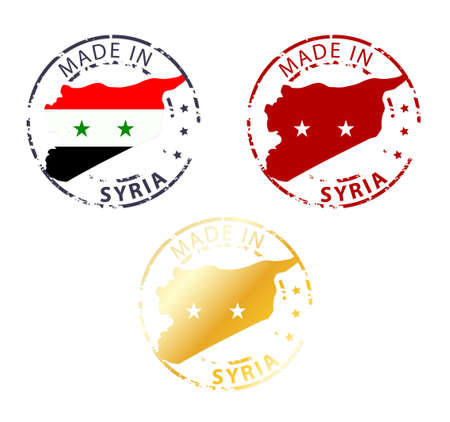 made manufacture manufactured: made in Syria stamp - ground authentic stamp with country map Illustration
